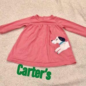 Pink tunic dress w/ dog Carter's 9M long sleeved
